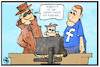 Cartoon: Cyberangriff (small) by Kostas Koufogiorgos tagged karikatur,koufogiorgos,illustration,cartoon,cyber,attacke,angriff,internet,router,daten,nsa,facebook,skandal,datenschutz,datenklau,kriminalität,russland,anschuldigung,user,computer,privatsphäre