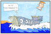 Cartoon: D-Day mit Trump (small) by Kostas Koufogiorgos tagged karikatur,koufogiorgos,illustration,cartoon,day,trump,geschichte,krieg,normandie,landung,usa,ballon,schiff,meer