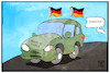 Cartoon: Deutschland - Südkorea (small) by Kostas Koufogiorgos tagged karikatur,koufogiorgos,illustration,cartoon,deutschland,südkorea,auto,autokorso,fahne,flagge,verräter,fussball,wm,weltmeisterschaft