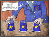Cartoon: EU-Postenvergabe (small) by Kostas Koufogiorgos tagged karikatur,koufogiorgos,illustration,cartoon,eu,posten,europa,geschacher,spiel,politik,hütchenspiel,amt