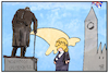 Cartoon: Johnson und Churchill (small) by Kostas Koufogiorgos tagged karikatur,koufogiorgos,illustration,cartoon,johnson,churchill,uk,premier,grossbritannien,statue,denkmal,historisch