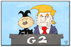 Cartoon: Lieber G2 als G7 (small) by Kostas Koufogiorgos tagged karikatur,koufogiorgos,illustration,cartoon,g2,g7,singapur,kim,jong,un,trump,usa,nordkorea,treffen,diplomatie