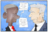 Cartoon: Obama und Gauck (small) by Kostas Koufogiorgos tagged karikatur,koufogiorgos,illustration,cartoon,obama,gauck,präsident,usa,deutschland,trump,rede,abschied,demokratie,politik