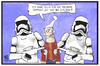 Cartoon: Star Wars (small) by Kostas Koufogiorgos tagged karikatur,koufogiorgos,illustration,cartoon,star,wars,film,premiere,kino,verhaftung,michel,science,fiction