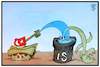 Cartoon: Syrien-Konflikt (small) by Kostas Koufogiorgos tagged karikatur,koufogiorgos,illustration,cartoon,syrien,tuerkei,is,krieg,konflikt,terrorismus,daesh,panzer