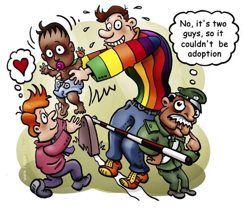 Cartoon: Gay adoption (medium) by illustrator tagged gay,adoption,blind,