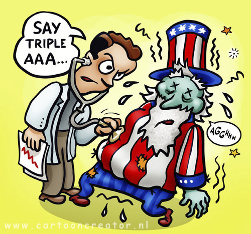 Cartoon: Uncle Sam getting sick (medium) by illustrator tagged crisis,financial,debt,uncle,sam,sick,triple,status,ill,usa,united,states,economy,worthiness