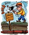 Cartoon: gas pipe (small) by illustrator tagged pipe,gas,pole,sign,worker,construction,field,ground,slam,hammer,force,danger,accident,explosion,leak,cartoon,gag,satire,cartoonist,illustration,illustrator,peter,welleman,mindless,ignorant,stupid