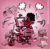 Cartoon: stressed (small) by illustrator tagged stress,workload,load,pressure,worker,employee,papers,busy