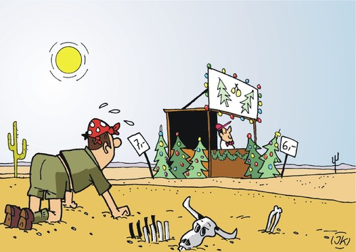 Cartoon: In der Wüste   In the desert (medium) by JotKa tagged wüste,desert,weihnachten,xmas,xmastrees,weihnachtbäume,visionen,visions,feiertage,holidays,thirsty,durst,durstig,wasser,water,sonne,sun,heat,hitze,in,wüste,desert,weihnachten,xmas,xmastrees,weihnachtbäume,visionen,visions,feiertage,holidays,thirsty,durst,durstig,wasser,water,sonne,sun,heat,hitze