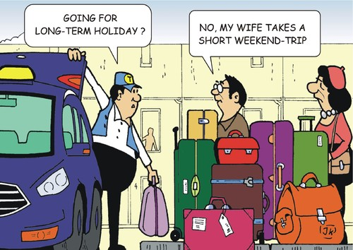 Cartoon: Weekend Holiday (medium) by JotKa tagged holiday,short,stay,long,vacation,vacationer,weekend,suitcase,luggage,taxi,cab,driver,traveling,man,woman,relationship,he,company,car,business,tourism,marriage,holiday,short,stay,long,vacation,vacationer,weekend,suitcase,luggage,taxi,cab,driver,traveling,man,woman,relationship,he,company,car,business,tourism,marriage