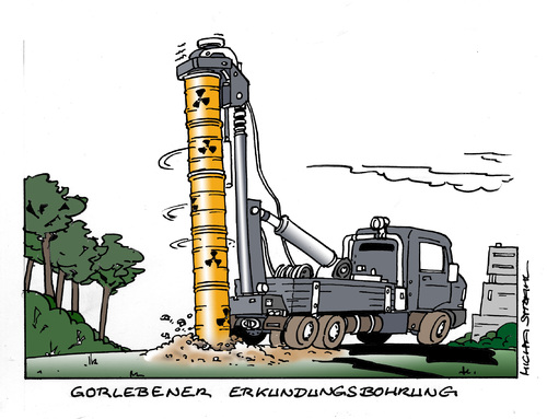Cartoon: Gorleben (medium) by Micha Strahl tagged micha,strahl,gorleben,erkundungsbohrung,endlager,akw,atommüll,atomkraft,salzstock,erkundungsbohrung,endlager,akw,atommüll,atomkraft,salzstock