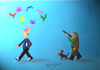 Cartoon: HUNTER? (small) by CIGDEM DEMIR tagged hunting bird colorful creativity dog man art idea