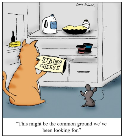 Cartoon: Common Ground (medium) by Humoresque tagged cat,cats,owner,owners,mice,mouse,pet,pets,and,refrigerator,refrigerators,cheese,cheeses,string,strings,enemy,enemies,friend,friends,friendship,common,interest,interests,compromise,compromises,compromising,ground