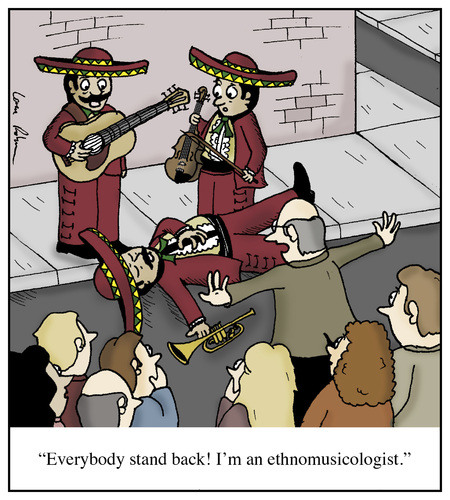 Cartoon: Ethnomusicologist (medium) by Humoresque tagged music,world,musician,mexican,ethnic,university,college,professors,professor,academia,academics,band,mariachi,ethnomusicologists,ethnomusicologist,ethnomusicology,musicologists,musicologist,musicology,academic,doctorates,doctorate,doctors,doctor,bands