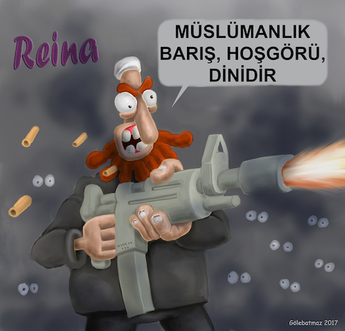 Cartoon: radical Muslim terrorism (medium) by Gölebatmaz tagged reina,radical,muslim,clun,turkey,istanbul,attack,terror,terrorism