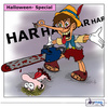 Cartoon: Halloween Märchen (small) by Akymag tagged cartoon,comics,pinocchio,motorsäge,horror,grusel,spaß,halloween,märchen,akymag,andyko,aky