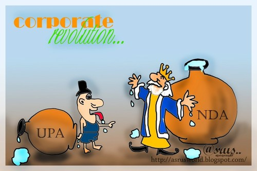 Cartoon: corporates revolution  ! (medium) by asrus tagged corporate,election,india