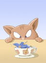 Cartoon: Montag ist Badetag! (small) by Tobias Wieland tagged katze vogel cat bird tobias wieland tasse bad pech jagd
