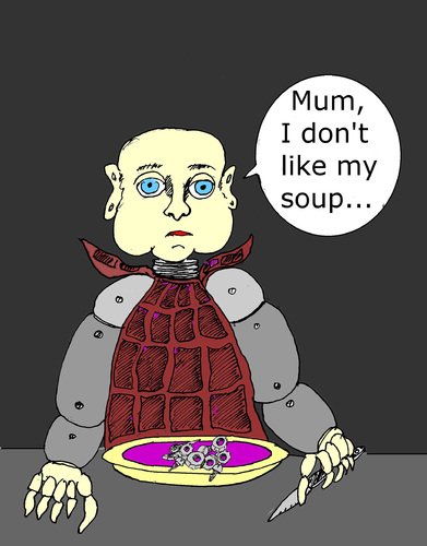 Cartoon: Dont like my soup (medium) by Marbez tagged androids,problems,meal