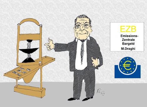 Cartoon: Emissionszentrale Bargeld (medium) by Marbez tagged ezb,geldemission,inflation