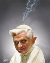 Cartoon: Ex-pope Benedict (small) by Dom Richards tagged pope,caricature,benedict