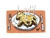 Cartoon: horse lasagne (small) by Dom Richards tagged horsemeat,scandal,cartoon,lasagne,findus