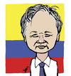Cartoon: Julian Assange (small) by Dom Richards tagged wikileaks,caricature,embassy,exile,prisoner
