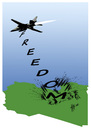 Cartoon: LIBYA FREEDOM (small) by Hilmi Simsek tagged libya,freedom,kaddafi,france,war,fighter,warplane,plane,bomb,hilmi,simsek,cartoon
