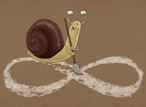 Cartoon: snail and eternity (medium) by gunberk tagged sisifos,eternity,snail
