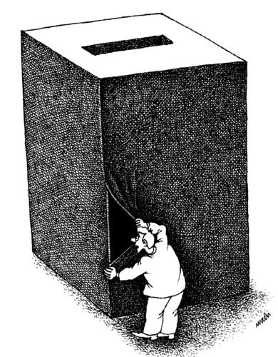 Cartoon: curiosity (medium) by Medi Belortaja tagged box,ballot,manipulation,elections,curiosity