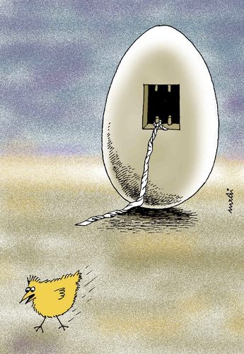 Cartoon: escape (medium) by Medi Belortaja tagged freedom,jail,prison,chicken,bird,egg,escape