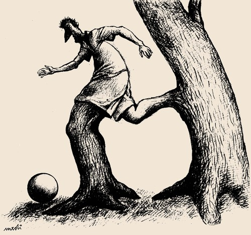 Cartoon: footballer (medium) by Medi Belortaja tagged nature,trees,sport,football,soccer,footballer,euro,2012,ukraine