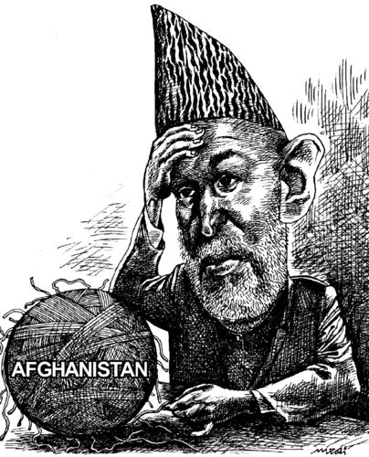 Cartoon: Hamid Karzai and Afghanistan (medium) by Medi Belortaja tagged afghanistan,and,karzai,hamid