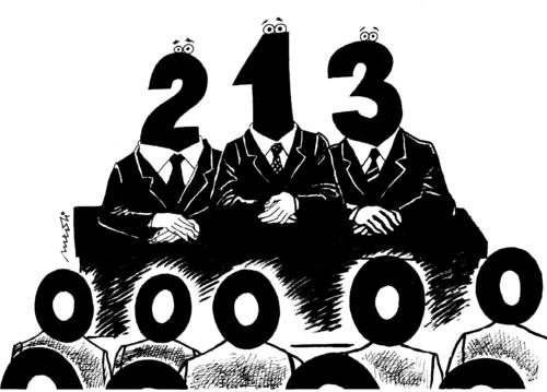 Cartoon: hierarchy numbers (medium) by Medi Belortaja tagged numbers,hierarchy,democracy,people,politicians