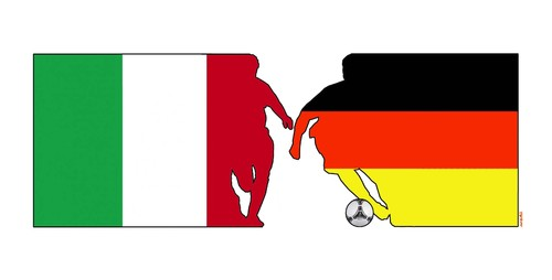 Cartoon: Italy vs Germany match (medium) by Medi Belortaja tagged ukraine,2012,euro,soccer,fussball,match,germany,vs,italy