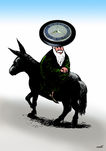 Cartoon: Nasreddin after migration (medium) by Medi Belortaja tagged benz,mercedes,wheel,migration,hodja,nasreddin