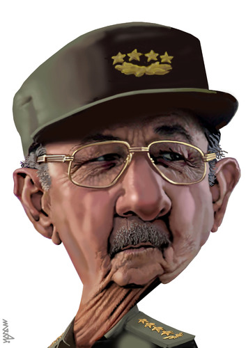 Cartoon: raul castro (medium) by Medi Belortaja tagged cuba,president,castro,raul