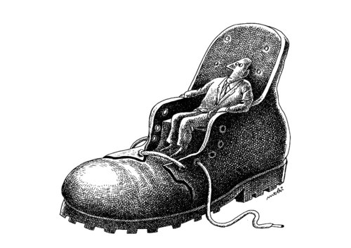 Cartoon: shoe chair (medium) by Medi Belortaja tagged chair,shoe,head,seat