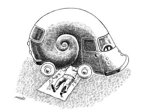 Cartoon: Snail Car (medium) by Medi Belortaja tagged automobile,defect,repair,car,snail,snails,shell,humor
