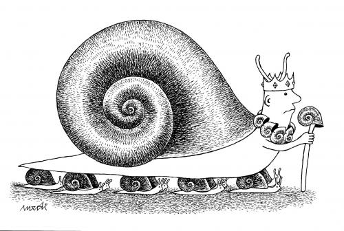 Cartoon: Snail King (medium) by Medi Belortaja tagged shell,dictator,dictatorship,king,snails,snail