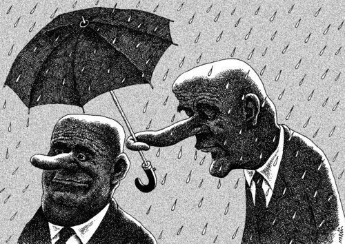 Cartoon: that s life (medium) by Medi Belortaja tagged humor,umbrella,nose,friendship,head,chief,servant,raining,rain