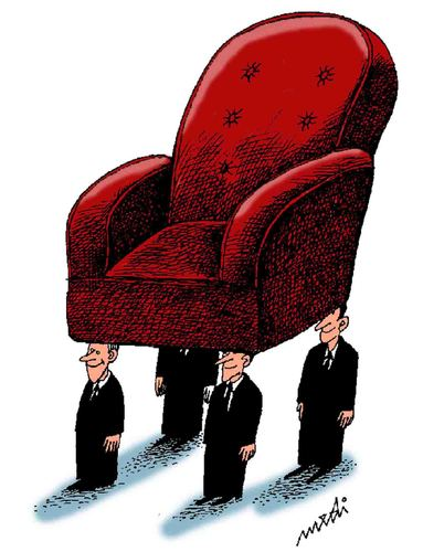 Cartoon: waiting for the boss (medium) by Medi Belortaja tagged keep,servants,leader,chief,head,chair,power,boss