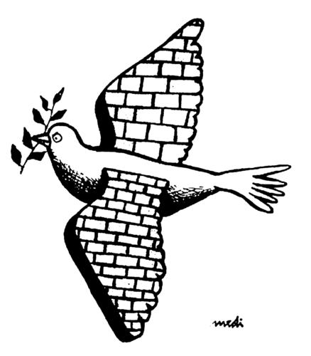 Cartoon: wall limb (medium) by Medi Belortaja tagged dove,peace,limb,wall,pigeon,colombo