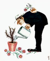Cartoon: love for thorns (small) by Medi Belortaja tagged flower,flowers,barbs,thorns,fuse,sticker,man,care,irrigation