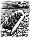Cartoon: migrants at sea (small) by Medi Belortaja tagged emigrant,immigrants,poverty,death,immigration,sea