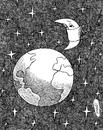 Cartoon: moon salvation (small) by Medi Belortaja tagged moon,salvation,epidemics,pollution,earth,illness