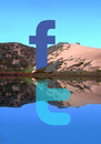 Cartoon: reflection (small) by Medi Belortaja tagged reflection,facebook,twitter