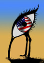 Cartoon: spy ostrich (small) by Medi Belortaja tagged us,usa,spying,spy,flag,eye,ostrich