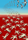 Cartoon: terns of freedom (small) by Medi Belortaja tagged terns dictator dictators dictatorship arab spring martyr martyrs swallow birds revolt protest democracy freedom